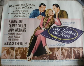 Superb 1964 Sandra Dee,Andy Williams, Original movie poster,I'd rather be rich ,amazing condition, free uk post