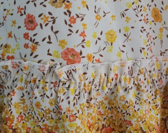 "Sweet pair of Cheery Yellow flowers, pair of cafe curtains, ruffled floral borders, orange, brown and yellow flowers 30"" wide 34"" long"