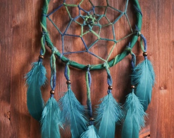 Dream Catcher - Dark Forest No.13. - Boho Dreamcatcher with Transitional Web and Stunning Blue Feathers - Mobile, Nursery Decor