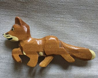 1940s Wood Fox Brooch,  Wooden Fox Pin, 40s Fox Brooche