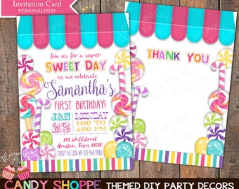 Candy Sweet Shoppe Theme Birthday Invitation and Thank you Card