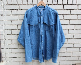 Vintage PANHANDLE SLIM Button Up Denim Shirt Size L Large Thin Outdoor Made in U.S.A. Long Sleeve