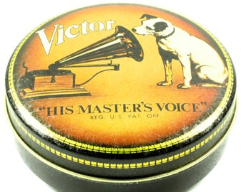 RCA Victor - His Master's Voice Tin Container - Victrola Phonograph White RCA Dog Black and Gold Round Tin