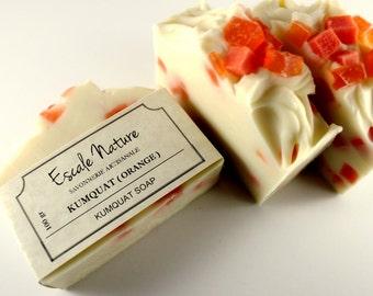 Kumquat (orange) soap, Artisan soap, Handmade olive soap, Olive oil soap with coconut milk