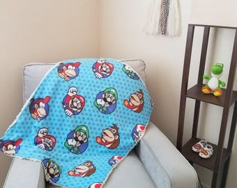 Modern baby blanket with faux sherpa: Mario and Friends