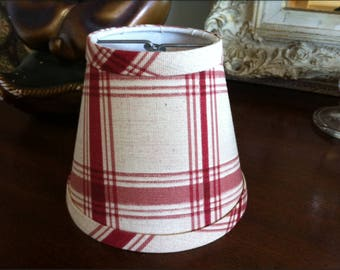 Check chandelier lampshade brick red and cream check shade clip fitter