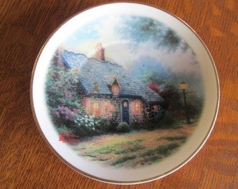Vintage Thomas Kinkade Moonlight Cottage Saucer