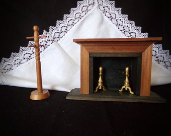 Vintage Doll House Furniture ,  Miniture Fireplace, Small Fireplace.  Mini Coat Rack . Doll House coat Rack. Miniature Doll House .