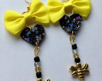 Sparkly Bumble Bee Earrings