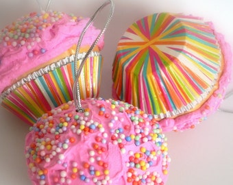 Fake Pink Cupcake Ornament With Sprinkles Candy Christmas Tree Sweets Tree Sweet Shoppe Decoration