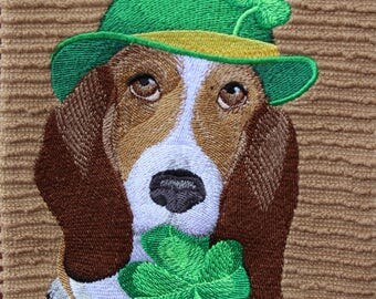 "Embroidered ""St. Patrick's Day Basset Hound"" Kitchen Towel"
