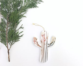 Cactus Ornament White And 22k Gold Minimal Holiday Ornament Christmas Plant Gift Keepsake Decor Porcelain Pottery IN STOCK