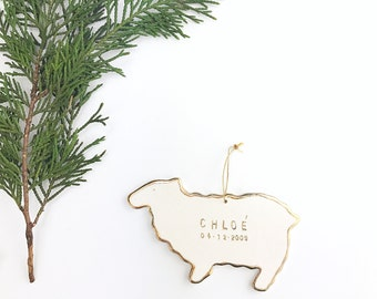 Sheep Personalized Ornament  22k Gold Luster Heirloom Babys 1st Ornament Custom Holiday Christmas Gift Keepsake Decor Porcelain Pottery MADE