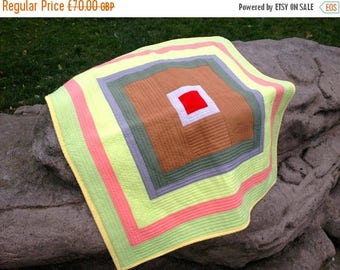 Spring Quilt Sale Baby Quilt Blanket or Sofa Throw in a Geometric Pattern and Contemporary Spring Colours