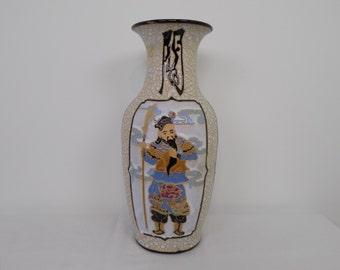 "17"" Mid Century Regency Ceramic Chinoiserie Oriental Asian Large Floor Vase - Japanese or Chinese Calligraphy Warrior Figure Home Decor  Urn"