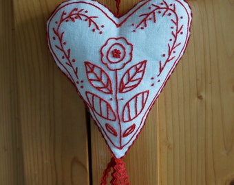 Swedish Heart: a Redwork Embroidery Pattern, Valentine's Gift, DIY Gift for Crafters, Digital Pattern