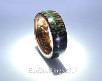 Bog Oak ring with Connemara marble Irish wedding ring Celtic design.