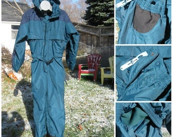 SALE Early 90s COLUMBIA Snow Suit, One Piece Teal Blue Green, Navy Blue, Like NEW might be,  snowmobile,snowboarding,Winter fun Men's S/M Un