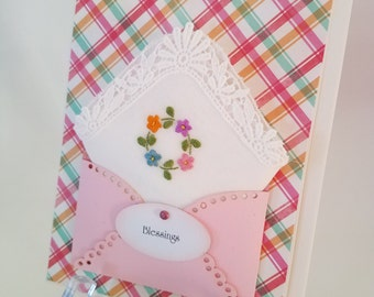 Vintage Embroidered Handkerchief Floral Friend Thinking Of You Blessings Birthday Just Beause Wedding Retirement Keepsake Gift Hanky Card