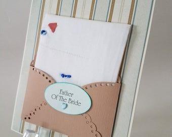 Father Of The Bride Vintage Men's Retro Handkerchief Pocket Square Dad Birthday Retirement Keepsake Gift Hanky Greeting Card