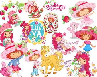 BEST collection of 250 STRAWBERRY SHORTCAKE Clipart - 250 high quality Strawberry Shortcake clipart - 250 Graphics !!!