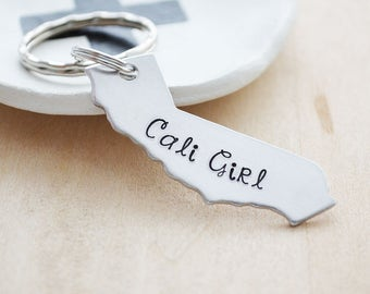 Home State Keychain - Choose Your State Key Ring - Cali Girl, New York, Jersey Girl - Hand Stamped USA Customized Accessory