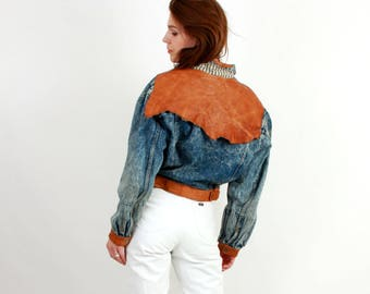 Vintage USED By MFW Acid Wash Denim and Leather Jacket