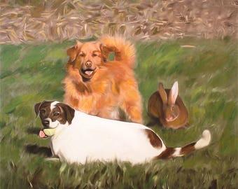 Pet Portrait Pet Painting Pet Photo Dog Painting Dog Portrait Custom Art Personalized Gift