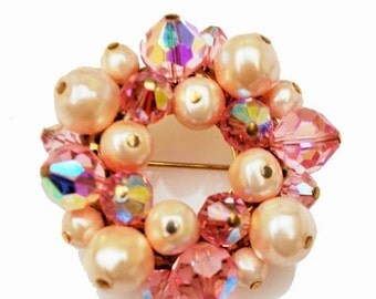 Vintage Pink Brooch Crystal pearl cluster  Bead  round Wreath Pin