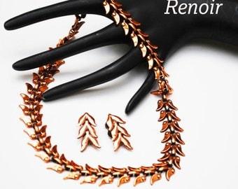 Renoir Copper Necklace and Earring set Laurel leaf design sign jewelry set Mid century Mod