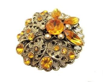 Orange Rhinestone Brooch Flower - Amber Gold Filigree  - Mid Century pin