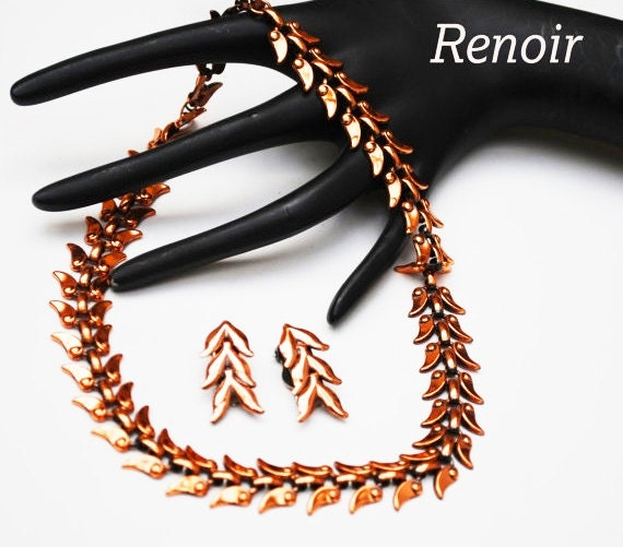 Renoir Copper Necklace and Earring set - Laurel leaf - signed  jewelry set - Mid century Mod