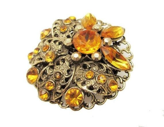 Orange Rhinestone Brooch Flower - Amber Gold Filigree  - Mid Century pin
