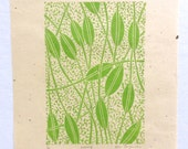 linocut - WEAVING - 8x10 / printmaking / block print / green