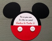 Custom Handmade Inspired Mickey Mouse invitations with real buttons
