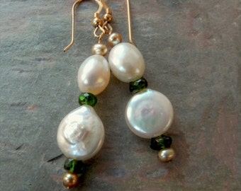 White Coin Pearl Dangle Earrings with AAA Emerald Green Chrome Diopside Gemstones, Gold, & Baroque Pearls, Handmade