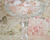 Vintage Crystal Pinwheel Pedestal Dish with Two Handmade Flowers and Vintage Pearls