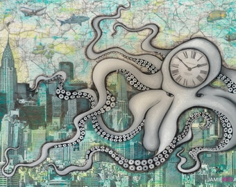 "Cloctopus- 5""x7"" Unframed Art Print by Jamie Rice-Desk art,  Wall decor. Framed or Unframed"