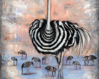 "Enlightened Ostrich 5""x7"" Unframed Art Print by Jamie Rice- Desk Art, Wall Decor"