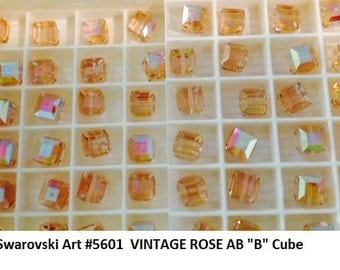 12+ Swarovski Elements 8mm Vintage Rose AB B Article 5601 Cube Crystals, New from Box