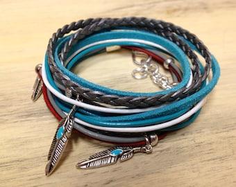 Tribal Bracelet Leather Wrap Bracelet Boho Bracelet Turquoise and Silver Southwest Stacked Bracelets Boho Wrap Around Bracelet