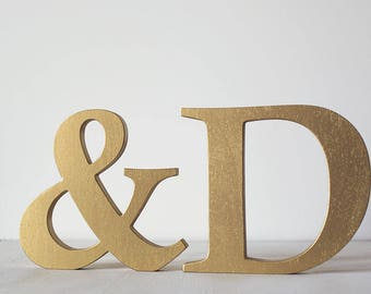 Wooden initials, gold letters, decorative letters, free standing letters, wedding decor