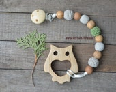 Pacifier chain,Holder with wooden owl toy,Dummy clip with teething toy,Wood owl teether,Pacifier chain,Beaded