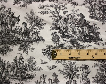 Black And White Scene Print Pattern Linen Fabric Per Yard