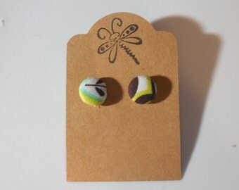 Green and Brown Button Earrings
