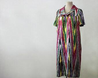 Uzbek dress, modest dress silk, chevron silk dress, handmade silk dress, ikat dress, multicolor dress, lounge silk dress, handwoven silk
