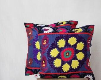 Uzbek suzani pillow, 20x20, SET OF TWO, embroidered pillow case, navy blue pillow case with embroidery, floral pillow cases, throw pillow