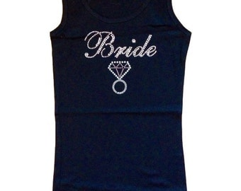 Rhinestone Bride tank w/ Bling Ring perfect for a Bachelorette & Bride to Be!