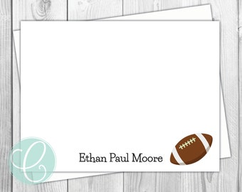 Football Boys Note Cards - Stationery - Flat Note Cards - Set of 12 - Personalized Birthday Thank You Cards - Baby Fall Preppy Sports Gift