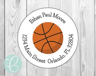 """Basketball -  Return Address Labels - 2"""" Round Stickers - Glossy or Matte - Boy Athlete Kids Sports Birthday Party Gift Tag Favor Shower"""